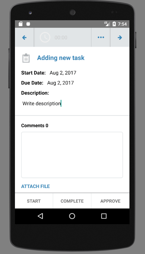 Add new tasks in Android