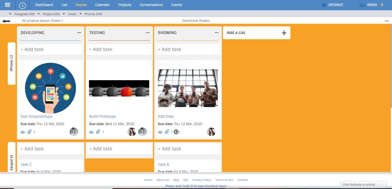 portfolio Kanban board