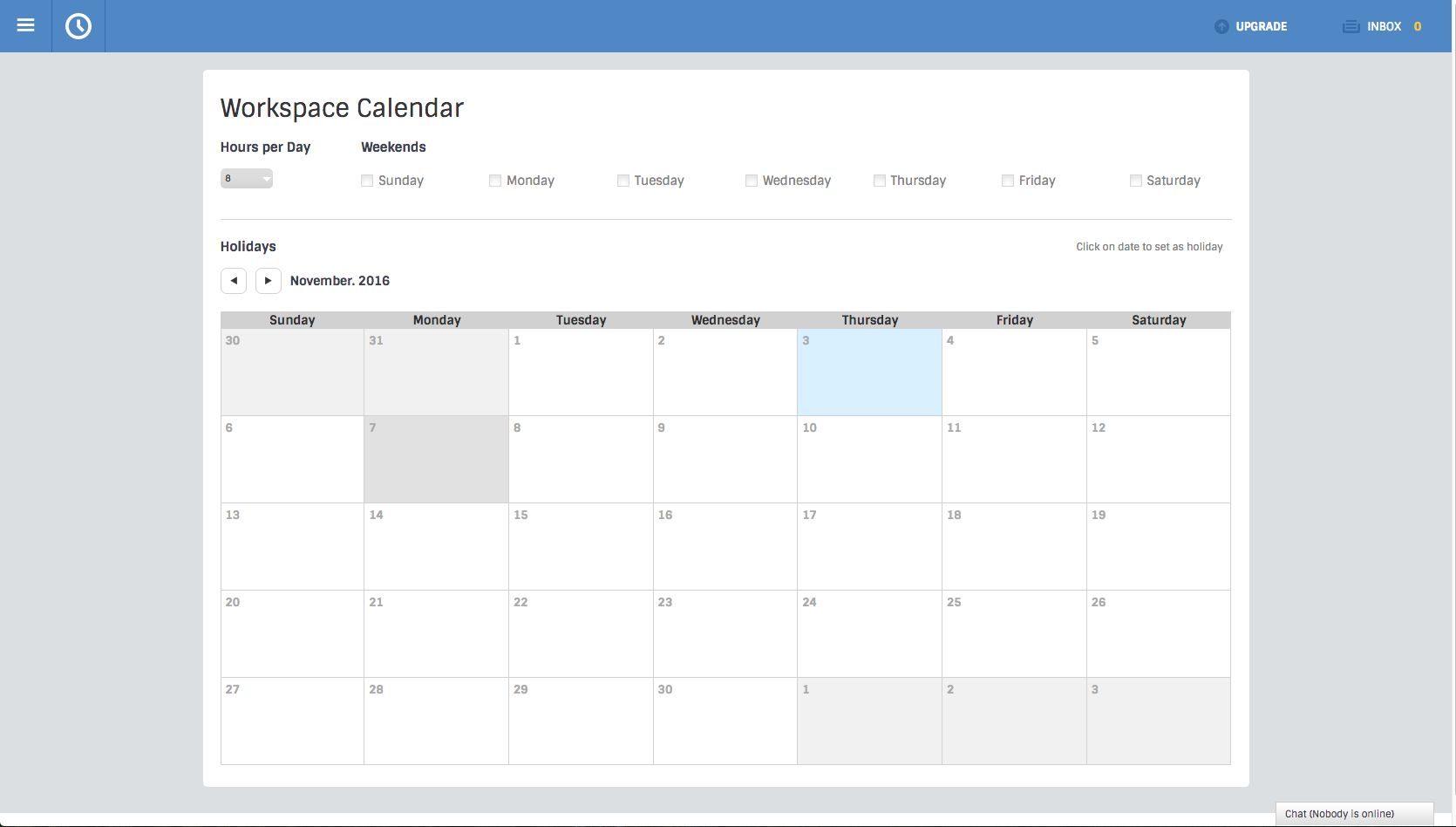 Workspace Calendar page screenshot